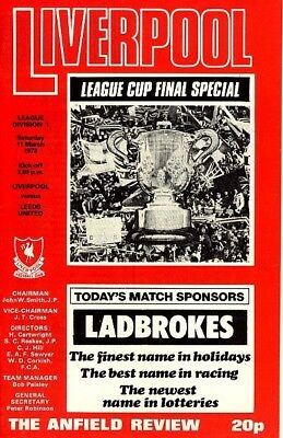 LIVERPOOL v Leeds 77/8 League Cup Final special edition