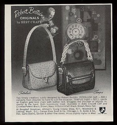 1969 Robert Bestien handbag 2 styles photo vintage print ad