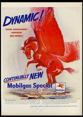 1950 Pegasus red flying horse art 'Dynamic' Mobil gas oil vintage print ad