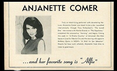 1967 Anjanette Comer photo Alfie song and movie vintage trade print ad