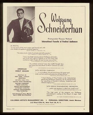 1957 Wolfgang Schneiderhan photo violin tour trade booking ad