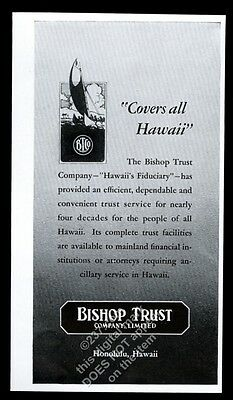 1943 Bishop Trust Company Honolulu Hawaii illustrated vintage print ad