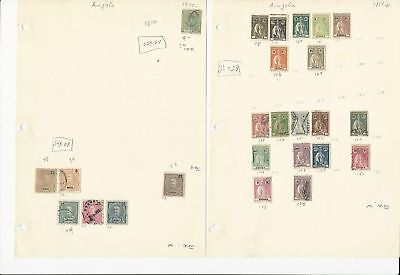 Angola, Portugal Colony, 1870-1962 on 13 Pages, All Different Lot