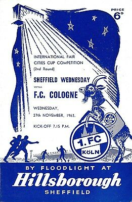 SHEFFIELD WEDNESDAY v Cologne Koln (Fairs Cup) 1963/4