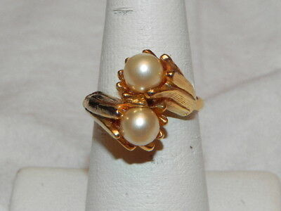 Vintage Faux Pearl Bead Overlapping Gold Tone Cocktail Ring Adj