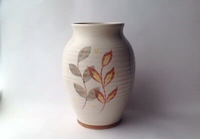Radford Pottery Vase Yellow and Red Leaf Pattern Ridged Body 1950s Home Decor
