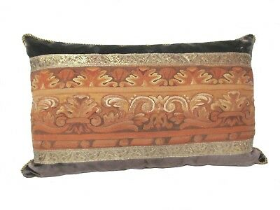 French 18th Century Beauvais Tapestry Fragment Pillow in Rich Autumn Colors