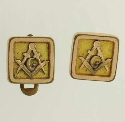 Masonic - Vintage Square Compass Cuff Links Lapel Buttons Member Collectors
