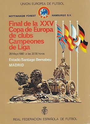 EUROPEAN CUP FINAL 1980 Nottingham Forest v Hamburg - ORIGINAL 'misspelt' Issue