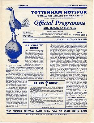 FA CHARITY SHIELD PROGRAMME 1951 Tottenham v Newcastle