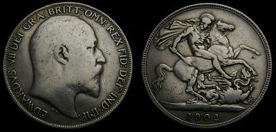 Great Britain 1902 Crown .925 One Year Issue KM #803 Mintage 256,000 Fine+ 6045
