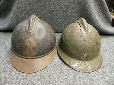 Lot Of 2 Original Wwi Adrian Helmets-French & Italian