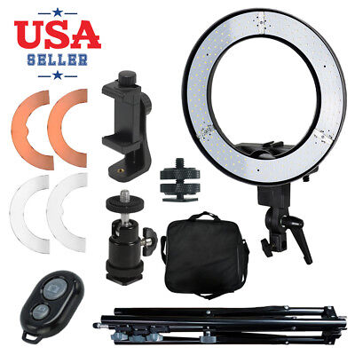 "Dimmable 14"" LED Photography Ring Light Phone Adapter Continuous Lighting"