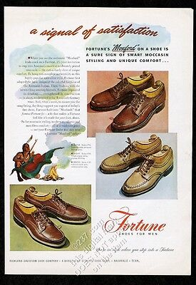 1947 Indian smoke signal art Fortune men's boat shoe oxford etc vintage print ad