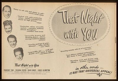 1945 Franchot Tone photo That Night with You movie vintage print ad