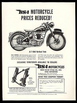 1949 BSA motorcycle A7 Vertical Twin photo vintage print ad