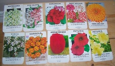 10 Different Vintage Flower Seed Packets Farmer's Supply House NOS