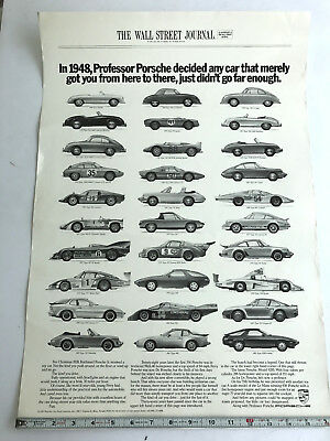 1985 Porsche  Factory Advertising Show Room Poster Wall Street Journal Original
