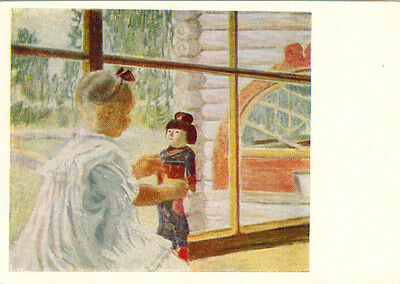 1957 Russian postcard GIRL WITH JAPANESE DOLL by B.Kustodiev