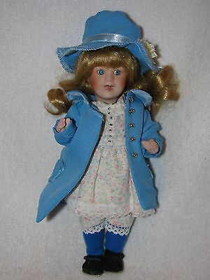 "Sweet 8"" All Bisque Doll Wearing Blue Coat & Hat"