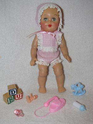 "8"" Vintage  Molded Hair Baby Doll By AMCO Dressed In Sunsuit With Toys"