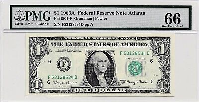 $1 1963A Federal Reserve Note Atlanta S/N F53128534D PMG 66 Gem Unc