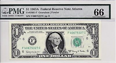 $1 1963A Federal Reserve Note Atlanta S/N F40675327C PMG 66 Gem Unc