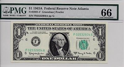 $1 1963A Federal Reserve Note Atlanta S/N F02532804A PMG 66 Gem Unc