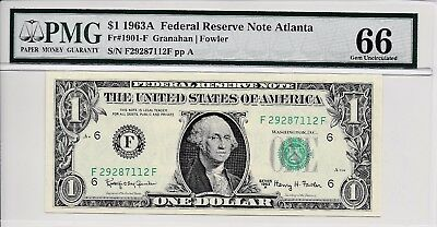 $1 1963A Federal Reserve Note Atlanta S/N F29287112F PMG 66 Gem Unc