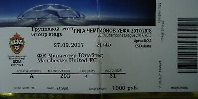 TICKET UCL 2017/18 CSKA Moscow vs Manchester United
