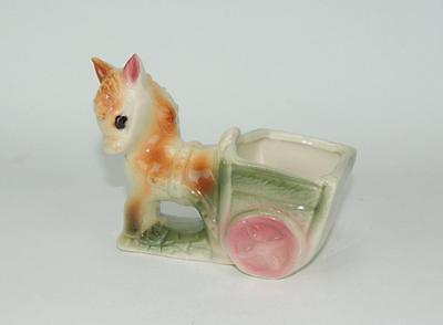 Vintage American Bisque Pottery Horse or Donkey pulling Cart Planter