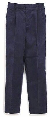 Boys Prep Corduroy Pants 27 x 28 Navy Blue Pin Wale Pleated Front School New