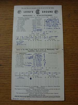 04/09/1968 Cricket Scorecard: Middlesex v Worcestershire [At Lords] 3 Day Game (