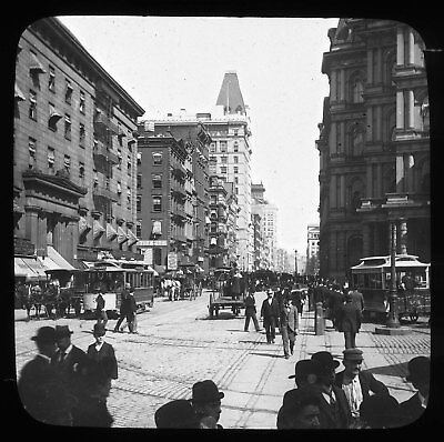 BROADWAY NEW YORK CITY 1890s GLASS MAGIC LANTERN SLIDE