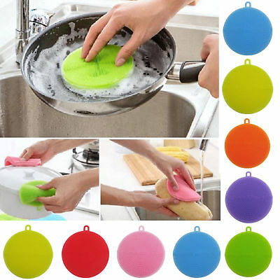 Silicone Brush Magic Dish Pan Wash Cleaning Brushes Tool Sponges Scouring Pads