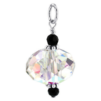 Swarovski Elements Round Clear AB Crystal Sterling Silver 25mm Pendant