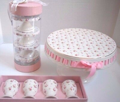 New Grace Teaware Victorian Pink Rose Cake Cupcake Stand Egg Cup Holder 9 Pc Set