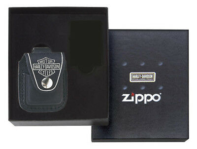 Zippo ZOHDP6 Harley-Davidson Leather Lighter Pouch Gift Set Black Leather