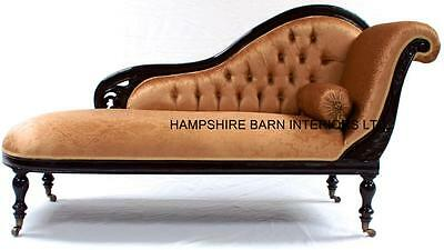 Classical Victorian Style Chaise Longue Repro Mahogany Gold Fabric w castors