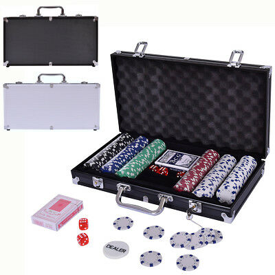 Poker Set - 300 Piece Texas Hold Em Chips Cards Dice Decks Casino Case Game