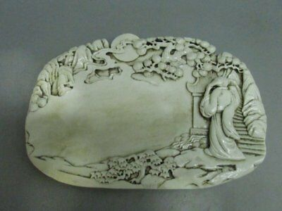 Chinese Exquisite White Porcelain Hand-Carved Person Scenery Ink/Slab / Instone