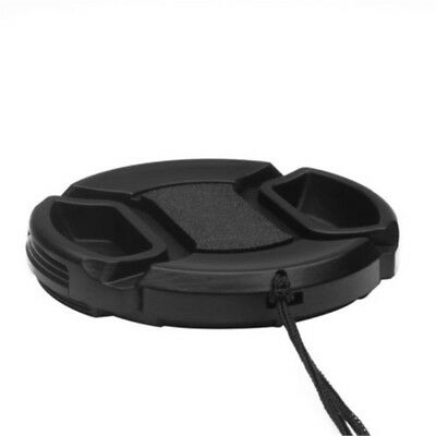 52mm Black Center Pinch Front Lens Cap Cover For Canon Nikon Sony w String CA