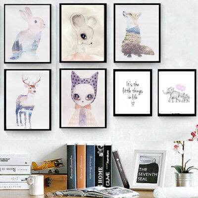 Nordic Style Animal Printed Poster Wall Art Canvas Painting Home Decor Unframed