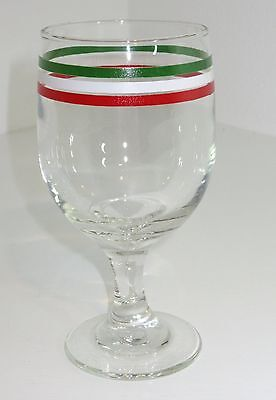 Vintage Libbey FESTA ITLAIANA WATER GOBLET GLASS Green White Red FLAG OF ITALY