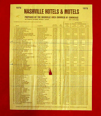 1978 Nashville Hotels & Motels Locations and Rates Tourism Leaflet golc