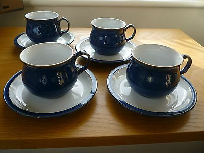 Denby Imperial Blue Cups & Saucers x 4 excellent condition