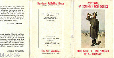 1977 set of 18 cards in folder CENTENNIAL OF ROMANIA'S INDEPENDENCE Engl/French