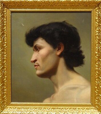 Fine 19th Century English School Nude Man Head Portrait Antique Oil Painting