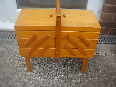 Well Made Wooden Cantilever Sewing and Craft Storage Box 3 Tier