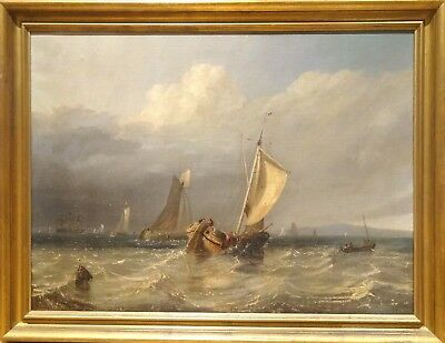 Fine Large 19th Century English Shipping Coastal Ships Sailing Antique Painting